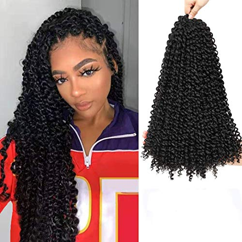 Passion Twist Hair 18 Zoll 7 Stück Passion Twist Flechten Haar Wasser Welle Haar für Passion Twist Crochet Braids Crochet Hair Extensions(1B)