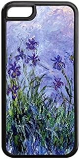 Claude Monet's Lavender Irises- Case for the Apple Iphone 5C- Hard Black Plastic Snap On Case with Soft Black Rubber Lining
