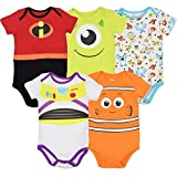 Disney Pixar Baby Boys 5 Pack Bodysuit Nemo Buzz Incredibles Monsters Inc 6-9 Months