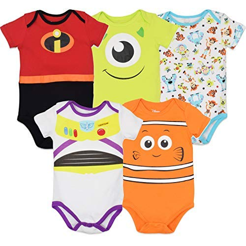 Disney Pixar Baby Boy Girl 5 Pack Bodysuits Nemo Buzz Incredibles Monsters Inc.