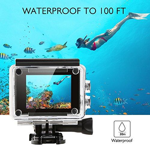 AKASO V50 Ultra 4K/30fps 20MP Action Cam WiFi Action Kamera mit Bildstabilisierung, 30M Unterwasserkamera mit Fernbedienung, 170°Weitwinkel, 2 wiederaufladbare Akku,Zubehör - 5