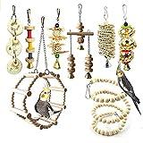 Chikanb Juguetes para Pájaros, 8 Piezas Perchas Loros Juguetes con Campanas, Escalera de Madera, Columpios, Hamaca de Madera, Que cuelga la Perca Juguete para pequeños y medianos de Aves