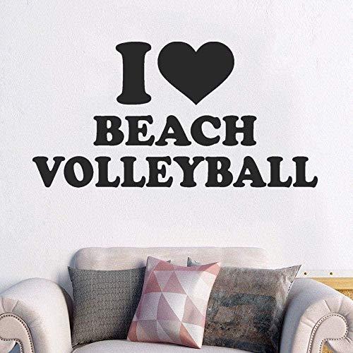 jjyyy Pegatinas de Pared Amo el Voleibol de Playa Pegatinas de Pared Voleibol Calcomanía Deportiva Decoración de la habitación de los niños 42X28Cm