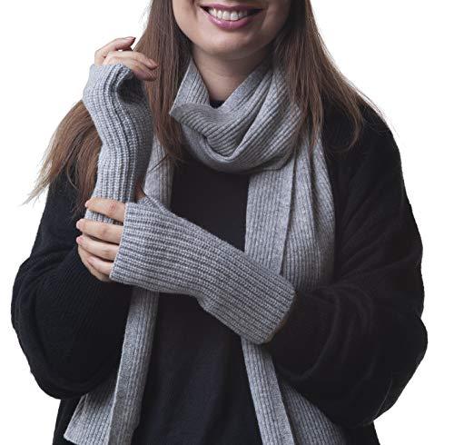 Adorawool - Guanti senza dita, scaldamani e polsi, in cashmere e merino, in lana calda e morbida per...