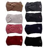 Confiable 8pcs Ear Warmer Diadema con botón de punto Oreja Calentador Crochet Arco Twist Twist Wrap Bandas de pelo de invierno Compatible con la cubierta de la boca al aire libre que lleva (color mixt