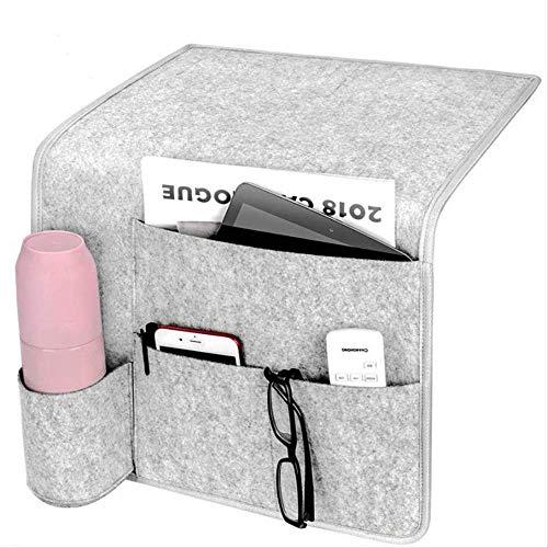 Felt Bed Pocket Hanging Storage Organizer con Velcro Antideslizante Y Portabotellas De Agua para Sofás Cama De Casa 14.17 En Gris