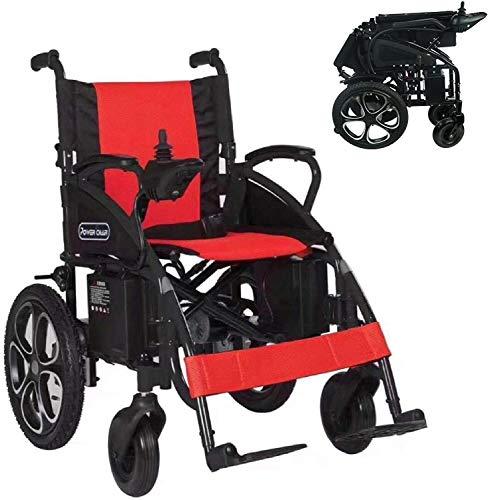 2021 Model Fold & Travel Lightweight Electric Wheelchair Motor Motorized Wheelchairs Power Wheel Chair Aviation Travel Safe Heavy Duty (Red)
