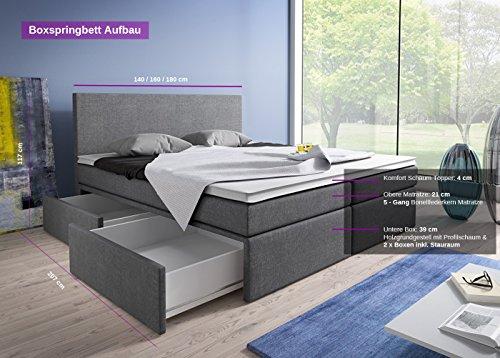 Boxspringbett 160×200 mit Bettkasten Grau Stoff Hotelbett Polsterbett Matratze Modell Roma (160 x 200) - 2