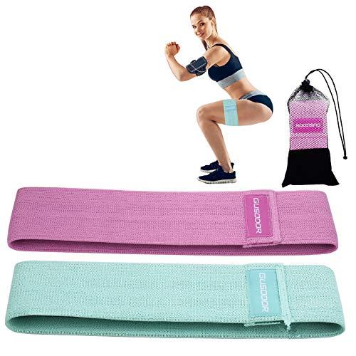 GUSODOR Bandas de Ejercicios Bandas Elasticas Fitness Resistencia Bandas para Yoga, Pilates, Crossfit, Estiramientos, Fisioterapia, Entrenamiento de Fuerza Conjunto de 2