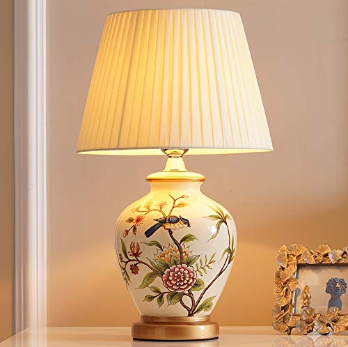 Zenghh Escritorio de la tabla china Cerámica lámpara Lámparas de porcelana Jingdezhen medianoche luz de la noche Tela Lampshad Ecage E27 Iluminación Oriental Mandarin pintura al óleo del árbol del páj