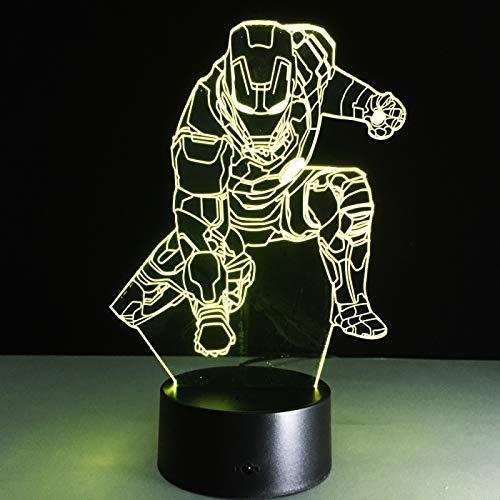 Lámpara de ilusión óptica LED Luz de noche 3D Alliance Iron Man Hero, Gradiente colorido, Lámpara infantil, Lámpara de oficina, B - Base negra remota (16 colores)