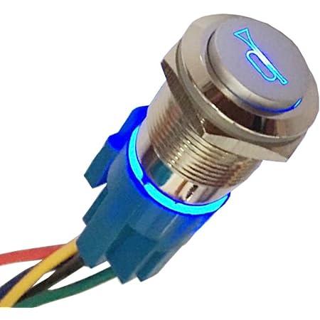 Mintice 19mm Kfz Kippschalter Wippschalter Druckschalter Schalter Drucktaster 12v Blau Led Licht Metall Lautsprecher Horn Steckdose Stecker Auto