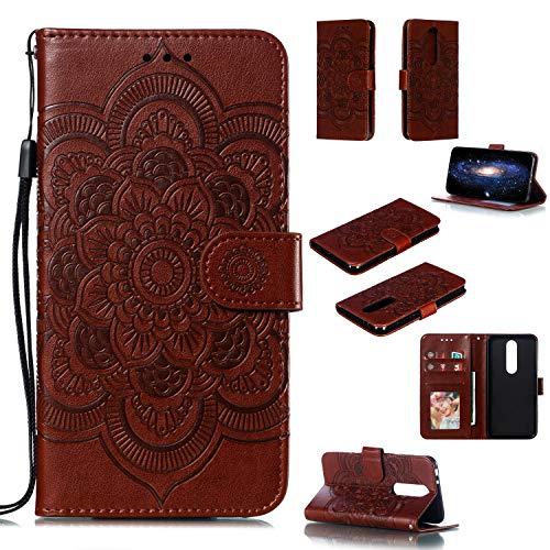 COZY HUT Cover per Nokia X5/Nokia 5.1 Plus,[Kickstand][Slot per Schede][Chiusura Magnetica] Flip Caso in PU Pelle Premium Portafoglio Custodia per Nokia X5/Nokia 5.1 Plus - Mandala Marrone