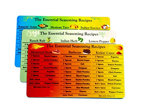 Seasoning Recipe Magnets - Set of 3 contains 9 Spice Rub recipes - Refrigerator Magnets for BBQ, Cajun Seasoning, Montreal Steak and more! Cheat sheets to spice up Keto, Volumetric and WW diet recipes