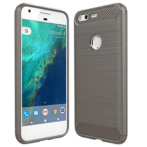 HH-Phone Funda para Google Pixel Textura de fibra de carbono cepillada a prueba de golpes TPU Funda protectora hangma (color gris)
