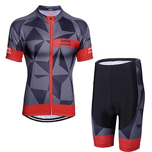 KEMALOCE Men's Cycling Jersey Set Bicycle Short Sleeve Set Quick-Dry Breathable Shirt+3D Cushion Shorts Padded Pants/Bib Short Black