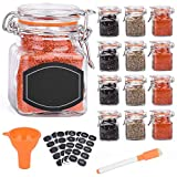 Spice Jars - 12 Airtight Flip Top Bottles with 40 Labels & Chalkboard Pen - Complete Set of 3.4 Ounce Square Empty Spice Bottles with Funnel | Kitchen Spice Organizer Clear Glass Jars