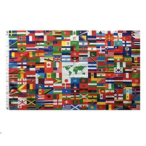 Lixure Welt Flagge/Fahne 150x240cm(5x8ft) Weltweite 216 Nationalflagge - Lbendige Farbe und Doppelt Genähte Flaggen aus Polyester mit Messingösen MEHRWEG