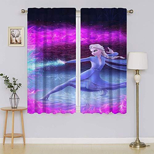 lacencn Frozen - Cortinas térmicas y extra anchas de Elsa, cortinas de ventana para dormitorio, ojales, cortina de eficiencia energética, para sala de estar, 52 x 63 cm