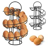 WOSHI Egg Skelter Iron Art Display Egg Dispenser Rack Restaurant Basket Egg Holder Storage Rack Deluxe Spiraling Dispenser Rack Basket Storage Stand
