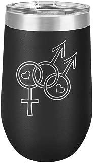 Bisexual Man Pride Interlocking Mars and Venus Symbols LGBT - Polar Camel 16 oz. Vacuum Insulated Stemless Tumbler w/Lid (Black)