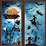 UMIPUBO Halloween Pegatinas Halloween Calcomanías de la Ventana Pegatinas de Pared Decoración Casa Azul Pegatina Estáticas Impermeables para Hogar Tienda y Escuela (A)