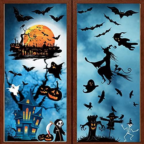 UMIPUBO Halloween Aufkleber Fensterbilder Fenster Stickers Bat Blue Castle Dekoration de Halloween 7 Blätter PVC Statische Aufkleber Halloween Dekor 21 * 29.5 cm (Halloween)