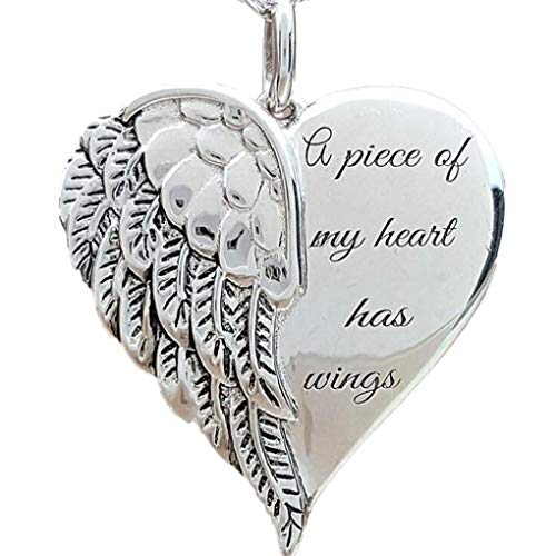 DIYear Wings Angle Love Heart Necklace Engraved A Piece of My Heart Has Pendant Silver Plated for Women