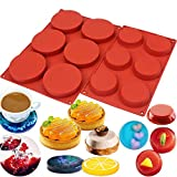 BAKER DEPOT Round Silicone Molds for Baking 6 Cavity Epoxy Resin Mold DIY Coaster 3 4 Inch Cake Muffin Tart Pastry Bakeware Pack of 2