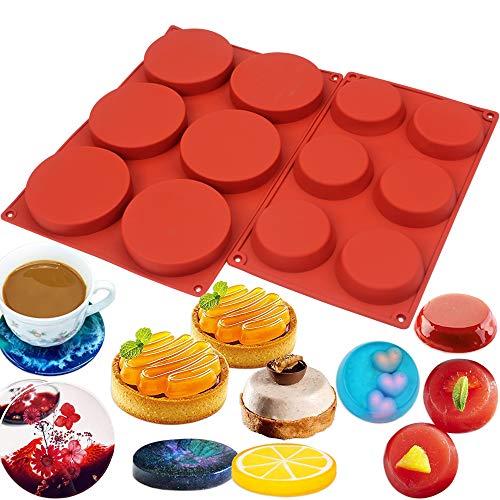 BAKER DEPOT Silikonform für Eis, Eiswürfel, Pudding, Gelee, Backzubehör, Backform, verschiedene Kombinationen 2 Größen runde Form 2er Set