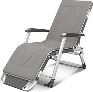 YUHT Rocker Recliner Sun Lounger Verstellbarer Grauer Stuhl Gartenmöbel im Freien Klappbett für den Strandpool Patio im Freien Garten Camping Füße Stahl Quadrate c2008 (Farbe: Grau, Größe: Mit Ki