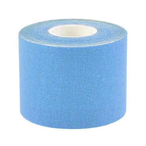 JUNGEN Kinesiologie Tape 5M * 5 cm Vorgeschnittenes Kinesiologie Elastische Klebeband Seil Sport Physio Blau für Knie Schultern Ellenbogen und Nacken