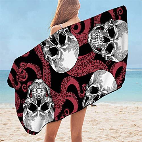 Toalla de baño de cráneo Octopus microfibra toalla de playa azul tentáculos rectángulo Yoga Mat 75x150cm toalla de viaje gótico