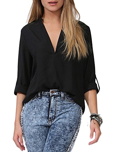 roswear Women's Casual V Neck Cuffed Sleeves Solid Chiffon Blouse Top Black XXL