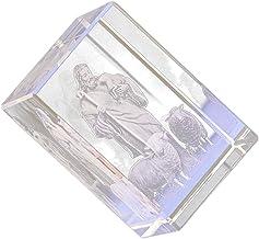 CLISPEED Crystal Jesus Statue Jesus Shepherds Model 3D Christ Figurine Glass Cube Nativity Feng Shui Souvenirs for Religio...