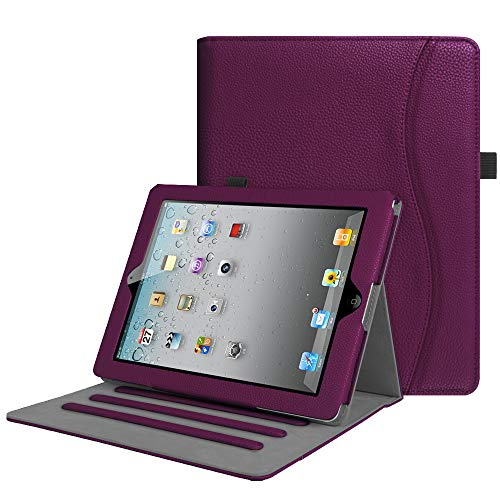 Fintie Case for iPad 2 3 4 (Old Model) - [Corner Protection] Multi-Angle Viewing Folio Smart Stand Cover w/Pocket, Auto Sleep/Wake for iPad 2, iPad 3 & iPad 4th Gen with Retina Display, Purple
