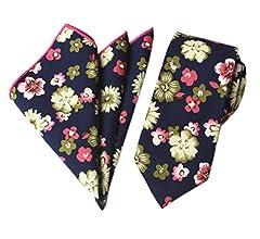 Mens Skinny Tie Handkerchief Set Cotton Novelty Floral Wedding Necktie Pocket Square Set