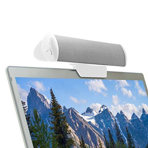 GOgroove USB Clip-On Lautsprecher - Portable 2.0 Laptop/PC Soundbar zum Anklemmen am Computer & zusätzlichem Tischständer, Single USB-Kabel für Audio & Power, ideal für unterwegs, Weiß