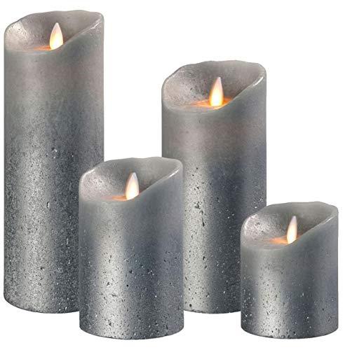 sompex 3er Set Flame LED Echtwachskerzen Grau metallic 10/12,5/18cm mit Fernbedienung