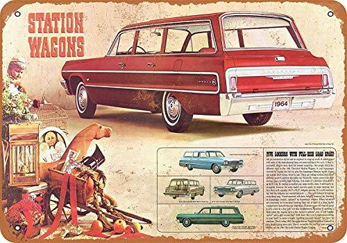Impala Station Wagon Blechschild Retro Warnschild Vintage Metall Poster Plakette Eisen Malerei Kunst Dekor für Home Cafe Garden Pub Büro 30x20 cm