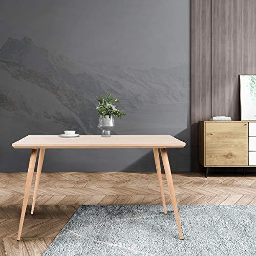 Mc Haus LATT - Mesa Comedor Madera MDF de diseno Nordico, Mesa cocina salon Diseno Rectangular Minimalista funcional de madera Natural 128,5x78,5x75cm