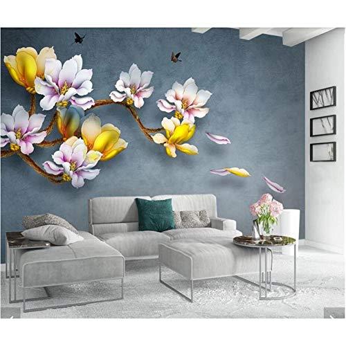 Guyuell 3D Blumentapete Gedruckt Fototapeten 3D Papel De Parede Infantil Papier Peint Wandbild 3D Gedruckt Wandbild Decals Murals-200X140Cm