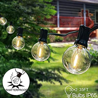 Arzerlize Outdoor String Lights LED for Patio, 35FT Upgrade 0.1W Globe Light String 30+2 Edison Blubs- Waterproof Shatterproof G40 Hanging Light Outside Indoor for Backyard Bistro Christmas Decor