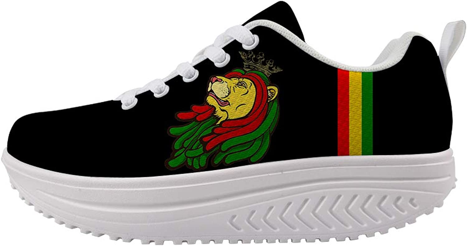 Owaheson Swing Platform Toning Fitness Casual Walking shoes Wedge Sneaker Women Jamaica Resta Reggae Lion King