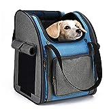 HAPPY HACHI Mochila Plegable para Perros Pequeños Portabebés Suave con Múltiples Tiendas de Transporte para Gatos Pequeños para Viajes en Avión (34x26x40cm, Gris Azul)