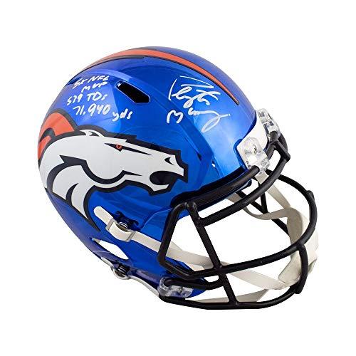 Peyton Manning Autographed Broncos Chrome Full-Size Helmet - Fanatics 3 Inscrip