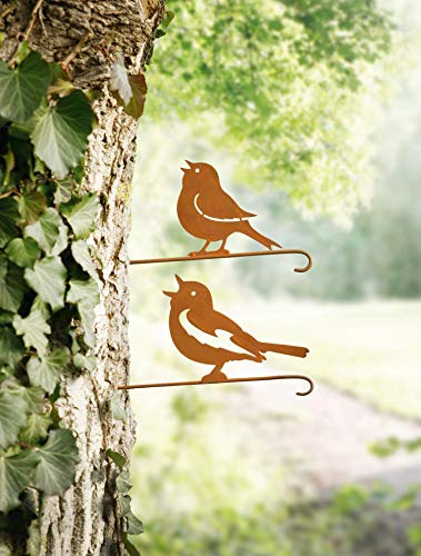 Dekoleidenschaft 2er Set Baumstecker Vögelchen aus Metall, Rostoptik, Vögel Spatz Meise, Gartendeko