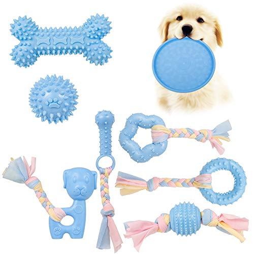 Veraing Puppy Chew Toys Kauspielzeug für Hunde Welpenspielzeug Spielzeugset zum Zahnen von Hunden mit Ball und Baumwollseilen Interaktives Spielzeug Kauen(8 Stück)