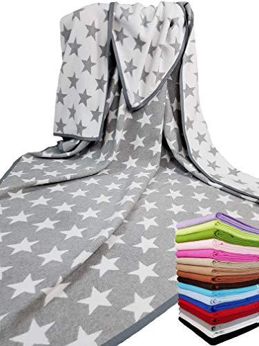 STTS International Baumwolldecke Wohndecke Kuscheldecke Tagesdecke 100prozent Baumwolle sehr weiches Plaid Korsika (Grau-Weiß (Stern), 140 x 205 cm)