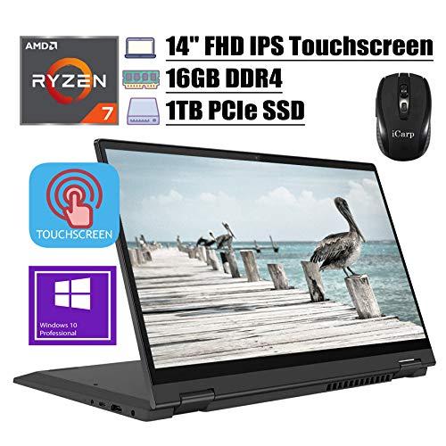 2020 Premium Lenovo Flex 5 2 in 1 Laptop 14' FHD IPS Touchscreen AMD 6-Core Ryzen 7 4700U(Beats i7-10510U) 16GB DDR4 1TB PCIe SSD Dolby Fingerprint Backlit Webcam Win 10 Pro + iCarp Wireless Mouse